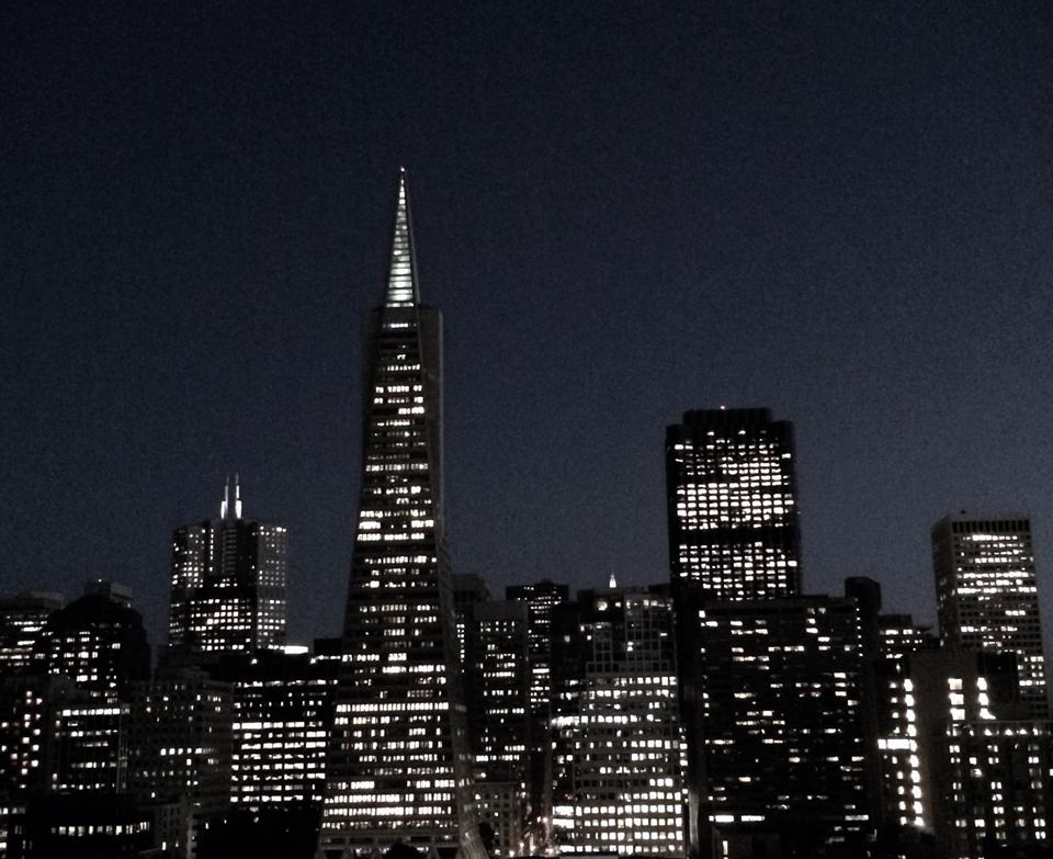 transamerica building at night, san francisco