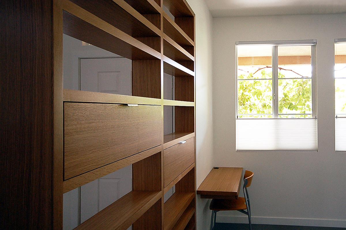 rift oak wood storage screen + built-in desk