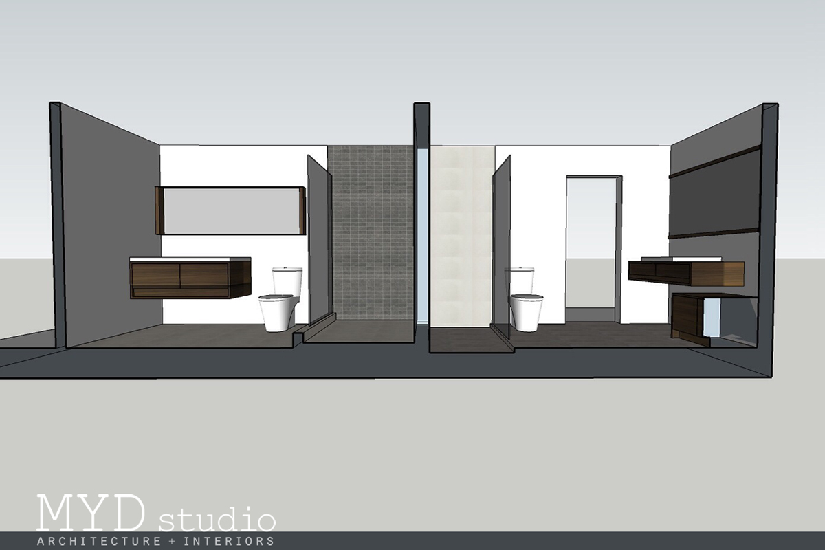 secondary bathrooms | section rendering