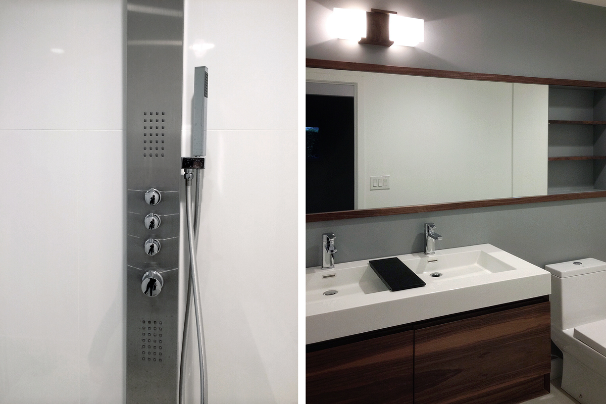 contemporary fixtures + natural wood finishes