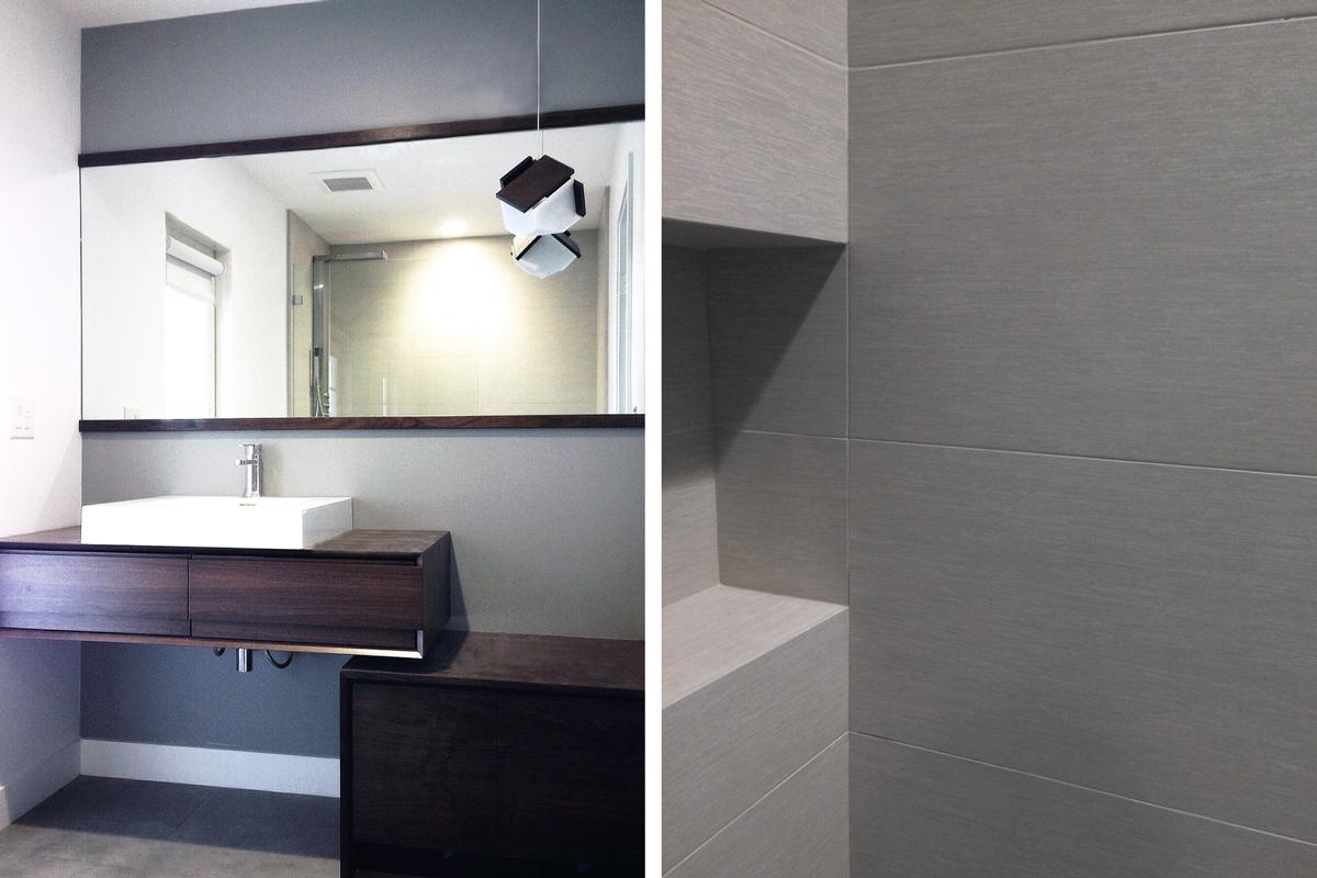 walnut vanity + linear gray shower tile