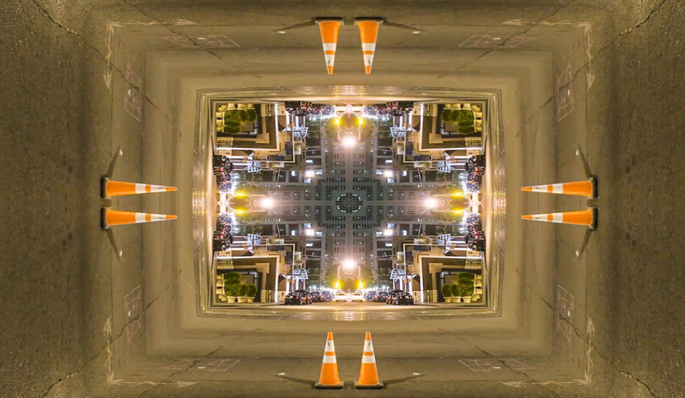 Mirrored street scene: timelapse animation