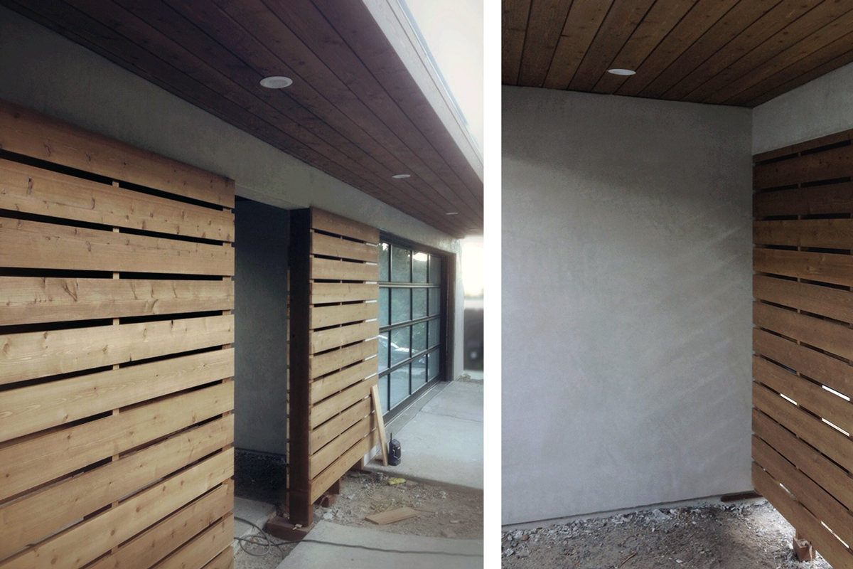 cedar slats at courtyard entry