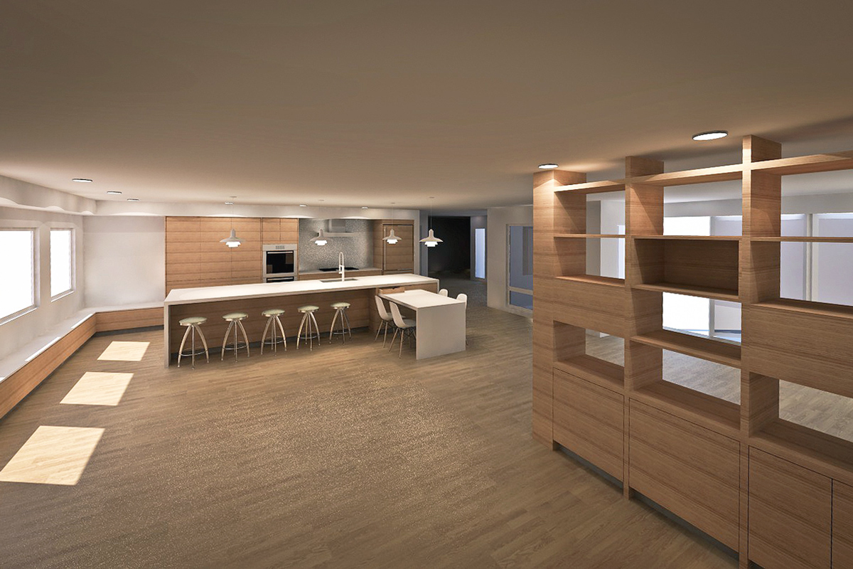 contemporary great room + kitchen