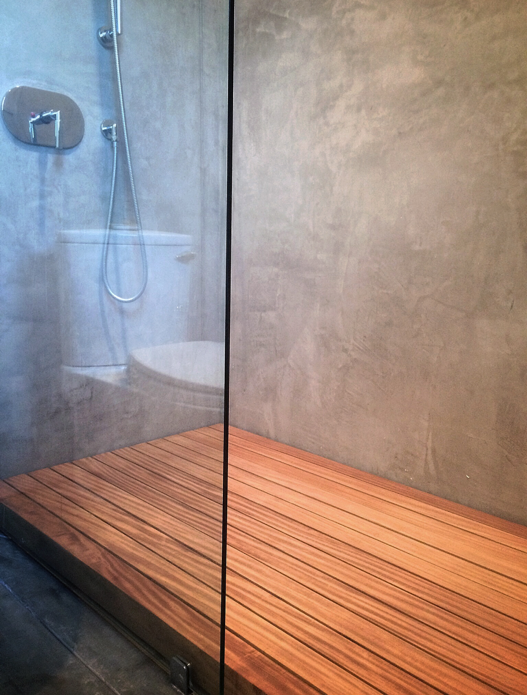 secondary bath downstairs / exposed platform