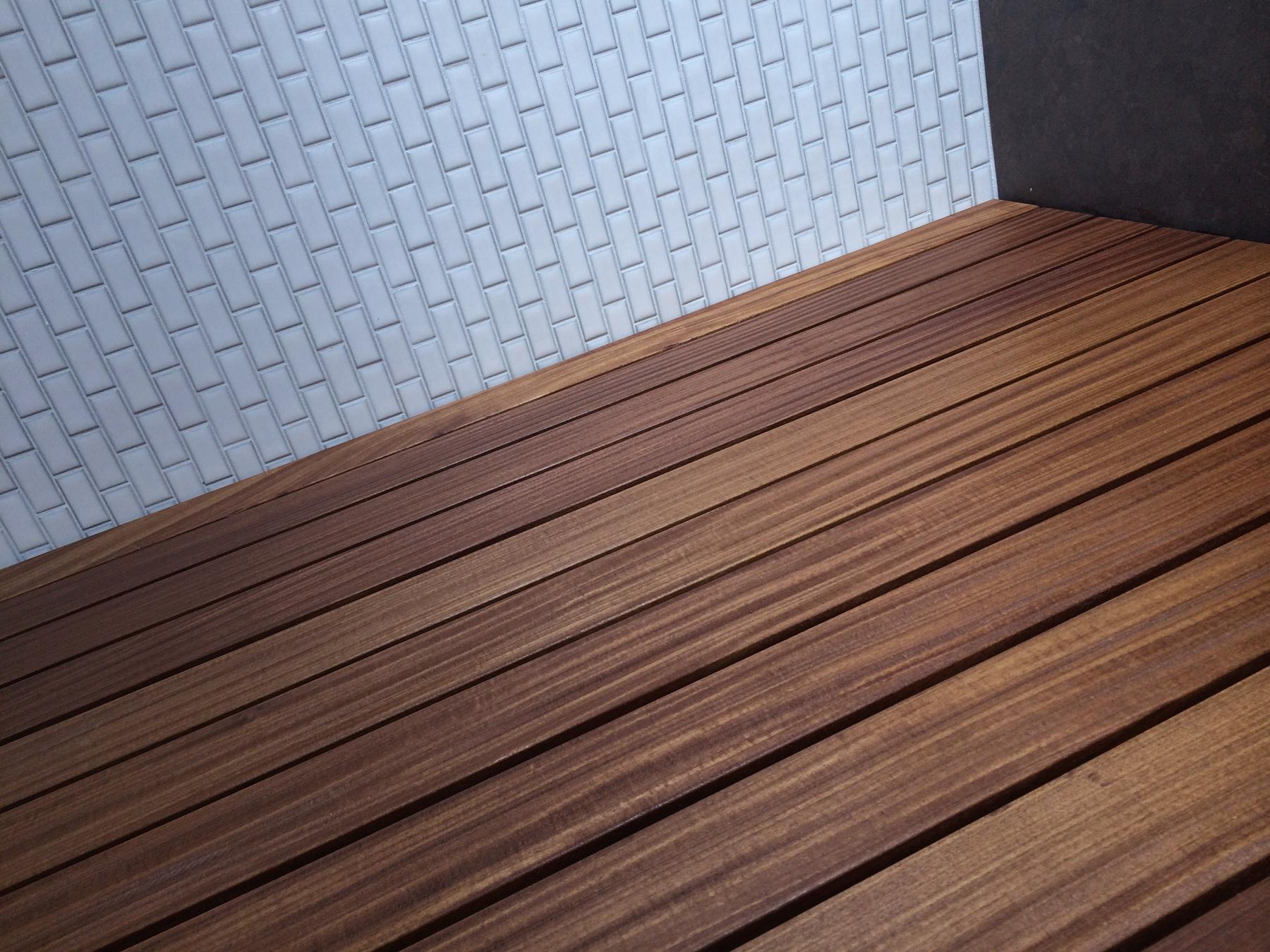 ann sacks wall tile + wood shower slats