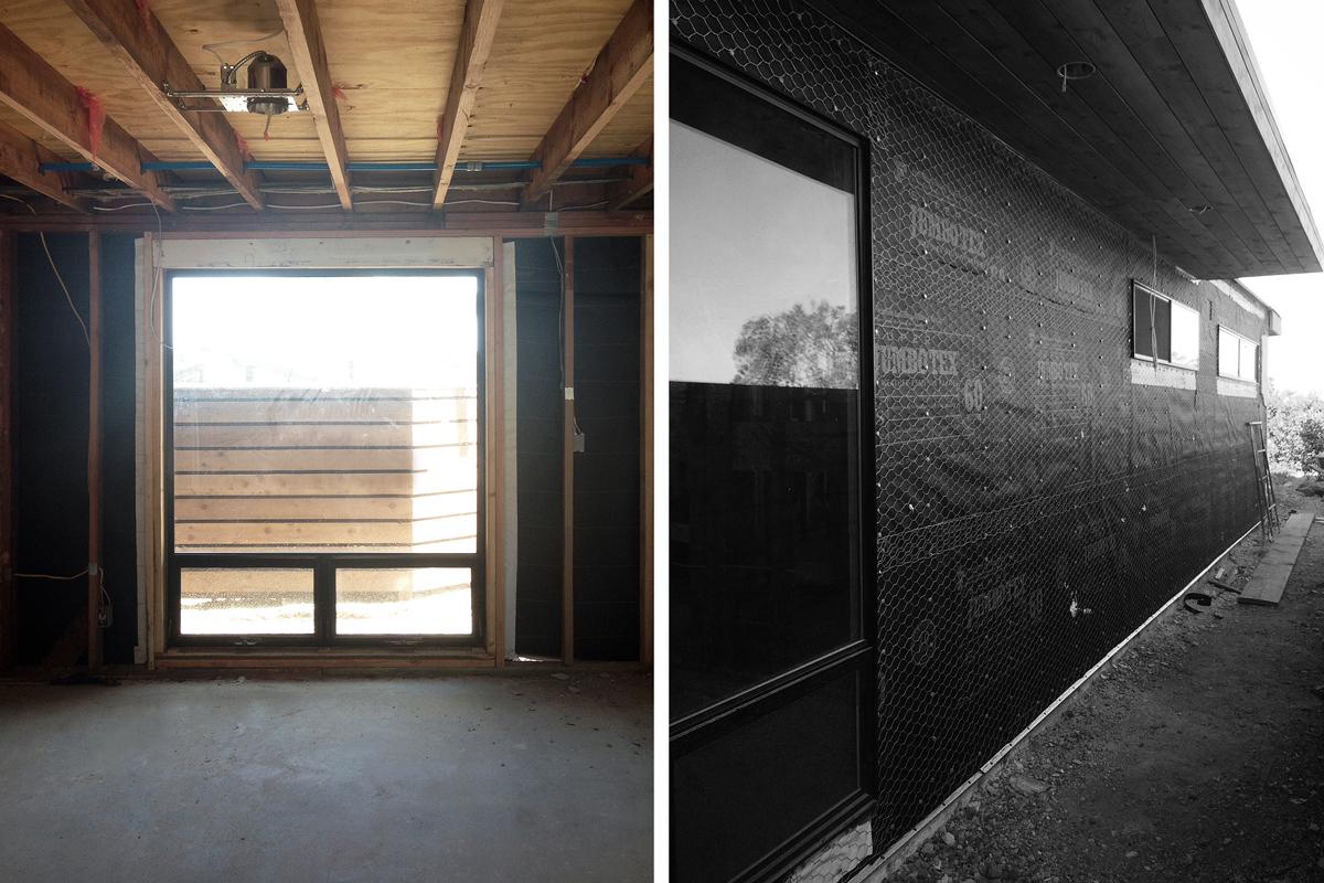 new windows / paper + lath at sideyard