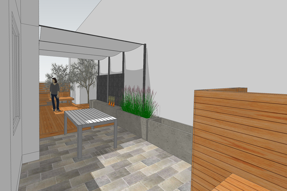 view from outdoor kitchen space