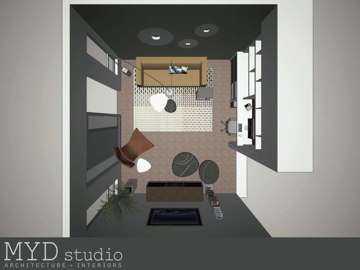 modern interior design // floor plan perspective
