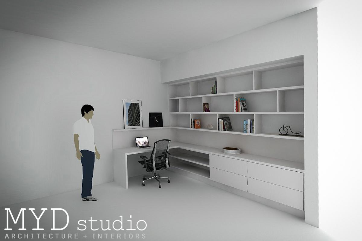 custom built-in desk + staggered shelving / myd studio, aliso vi