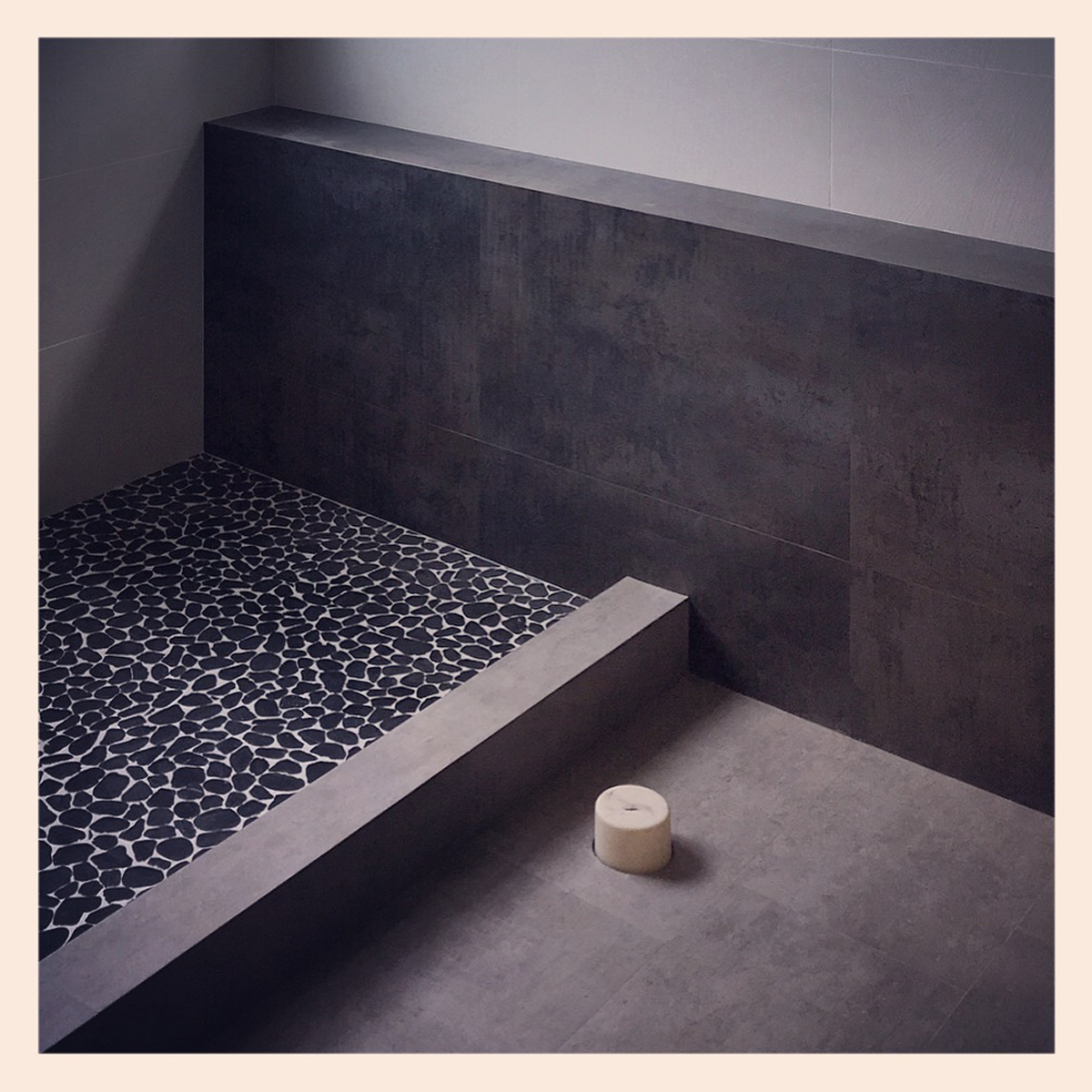 contemporary master bath construction in orange