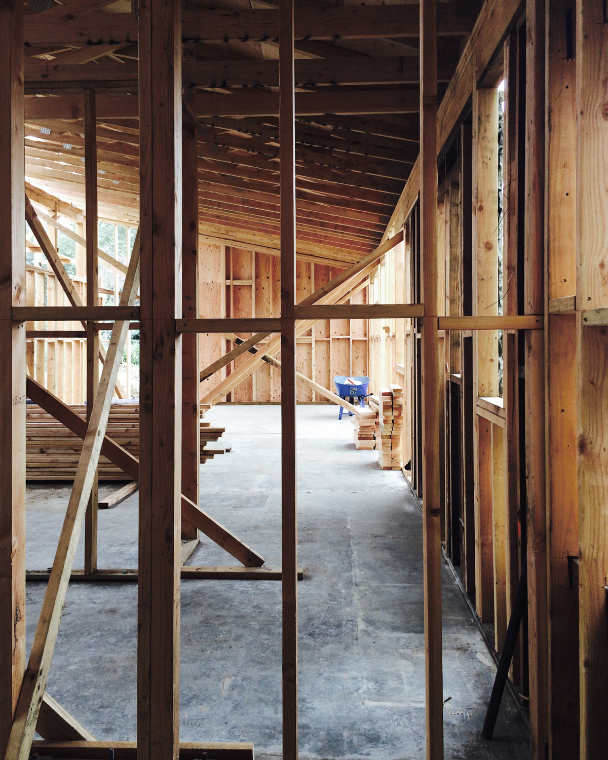 modern ranch house construction // rough framing