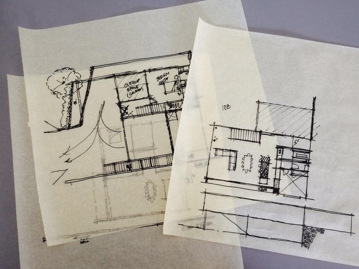 conceptual floor plan development sketches