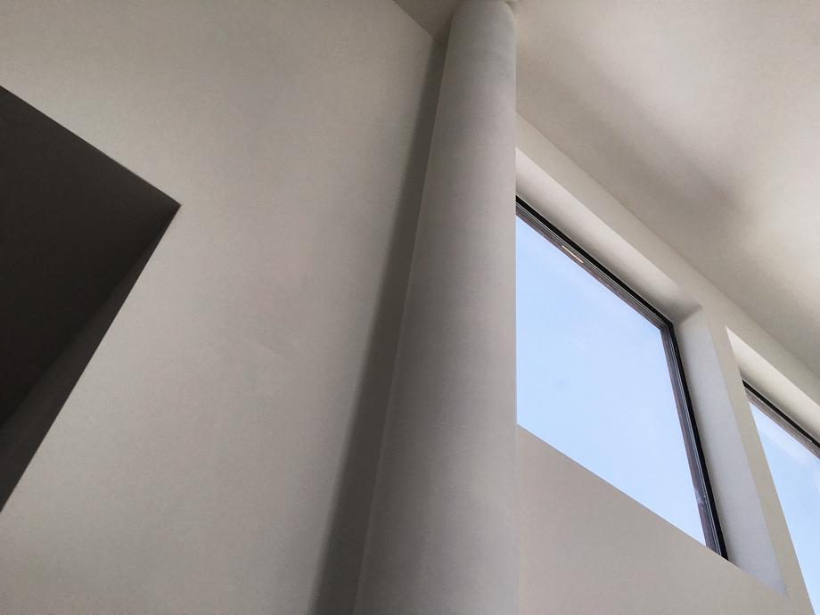 exposed flue at clerestory windows