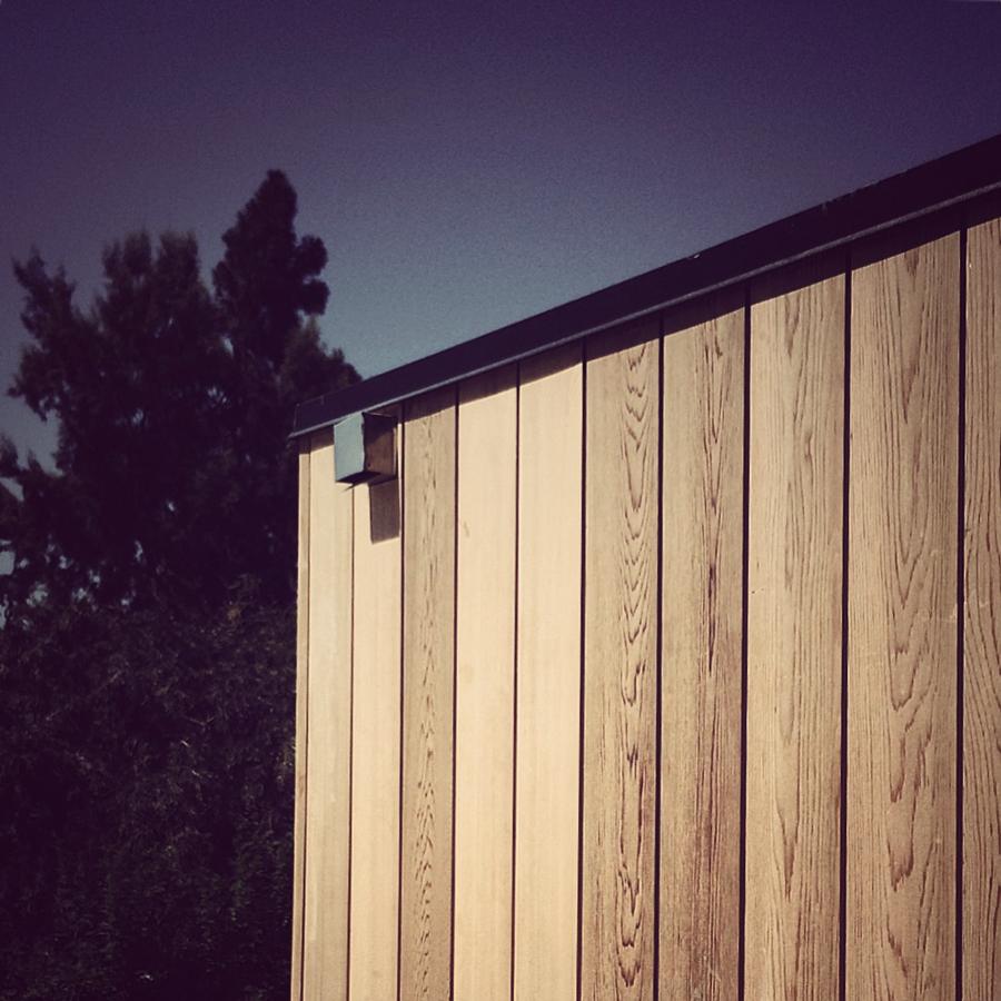 cedar siding at flat roof