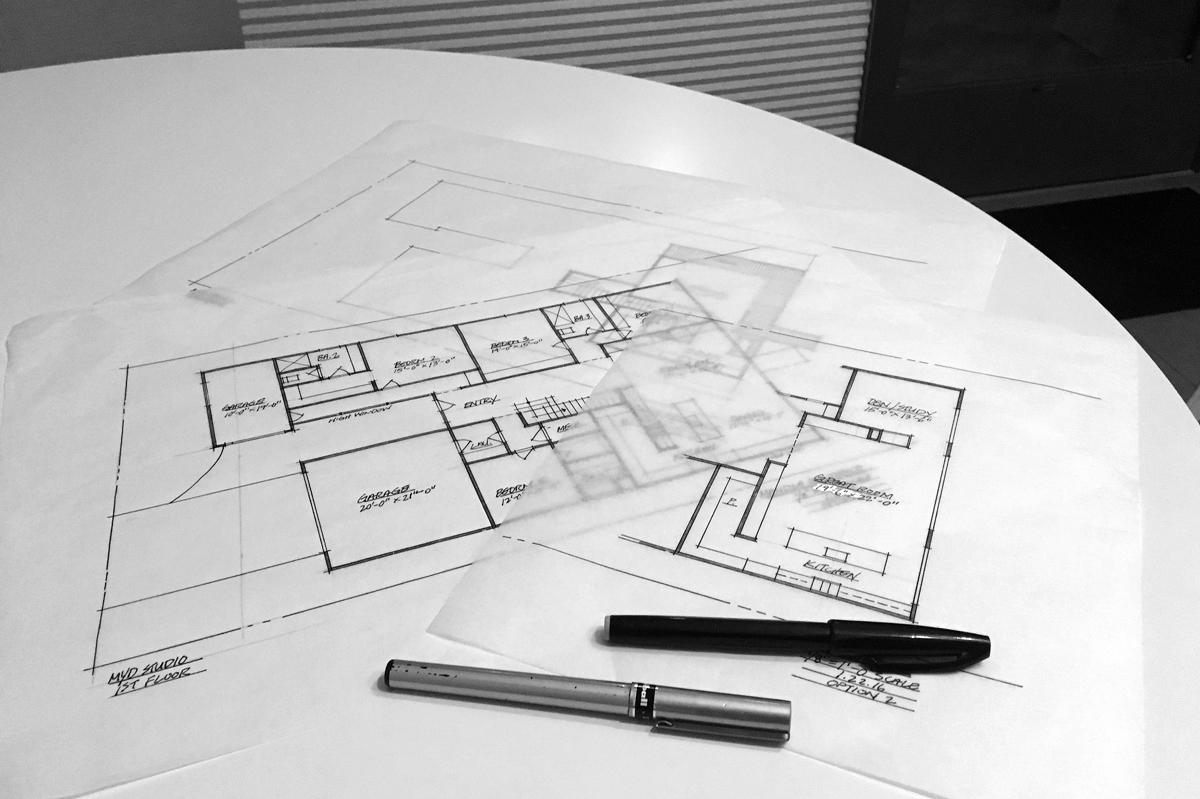 schematic design / floor plan iterations