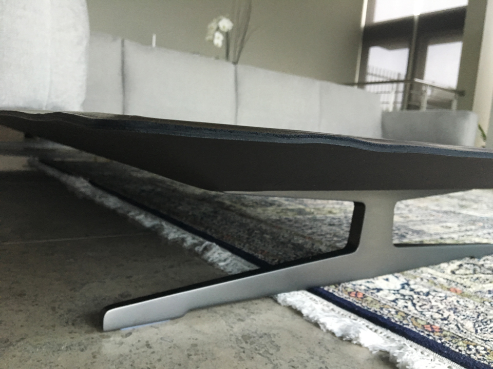 steel + leather base