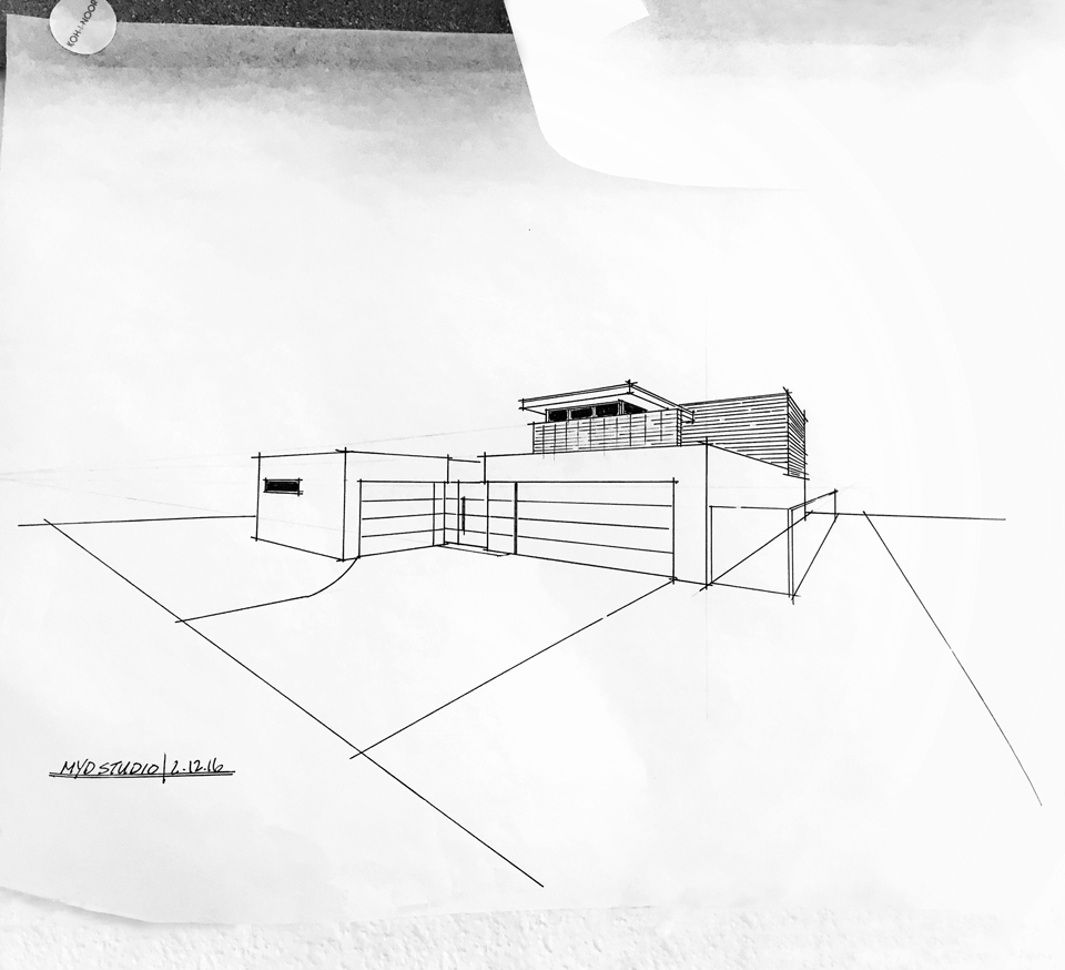 constructed perspective / huntington harbor midcentury addition