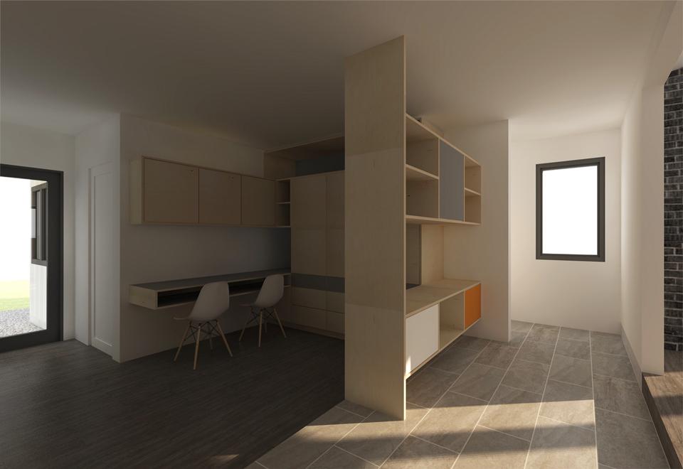 custom casework at interior hall/study