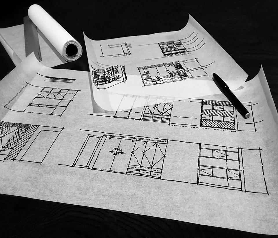 interior elevation sketches / lower level hall
