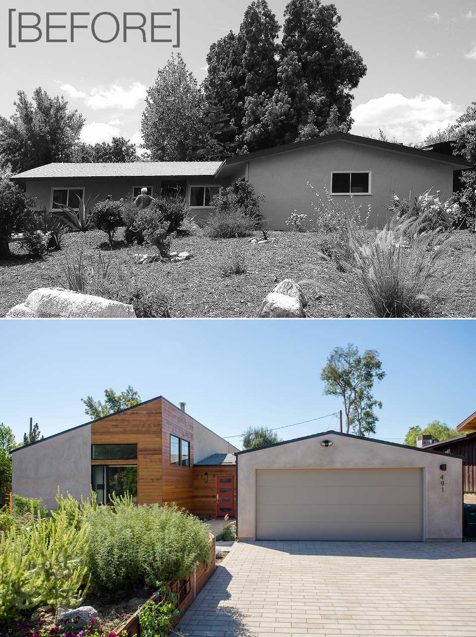 before + after /  modern ranch addition + renovation