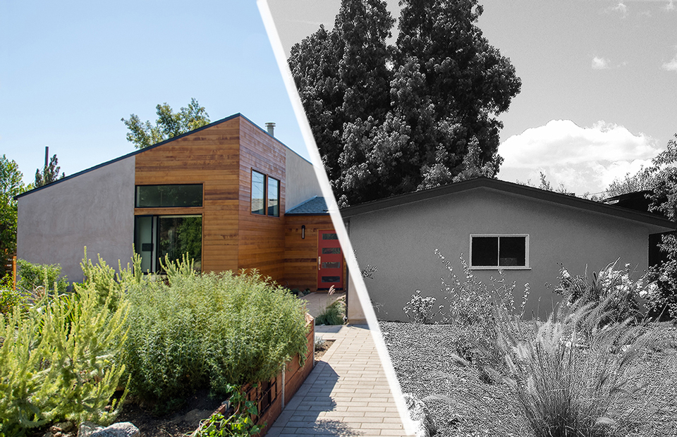 sierra madre modern home / exterior front [BEFORE+AFTER]