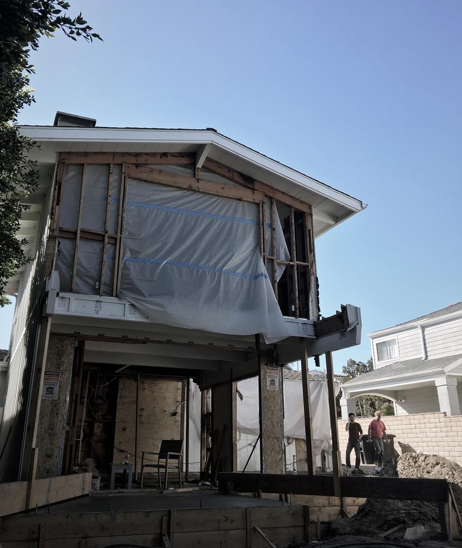 concrete formwork at rear addition
