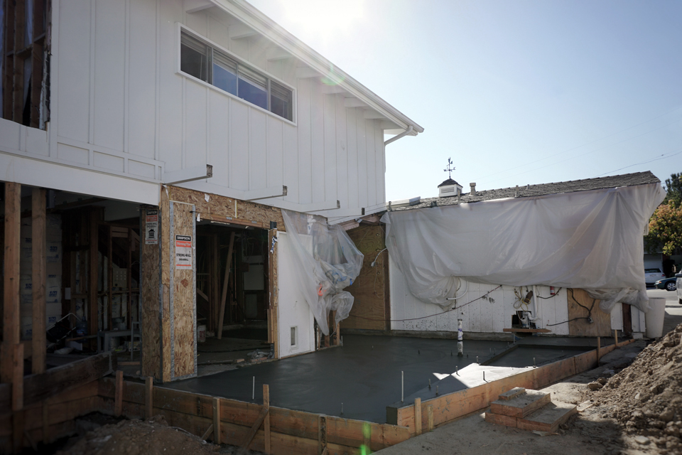 concrete formwork at new side entry