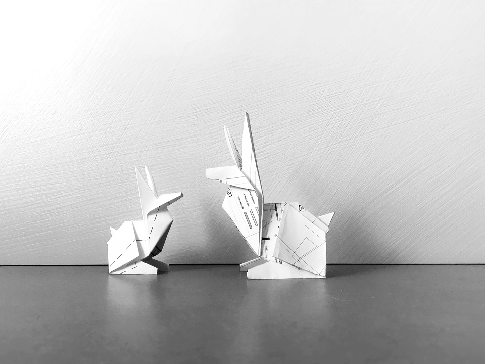 floor plan origami / recycled architectural drawings
