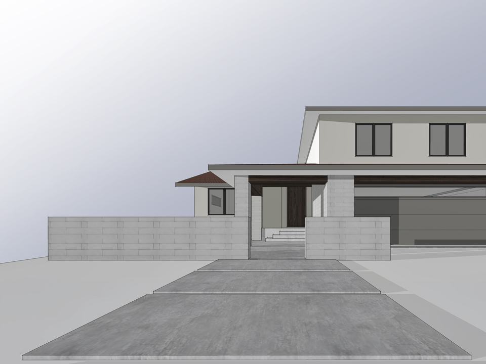 exterior design / front approach at entry