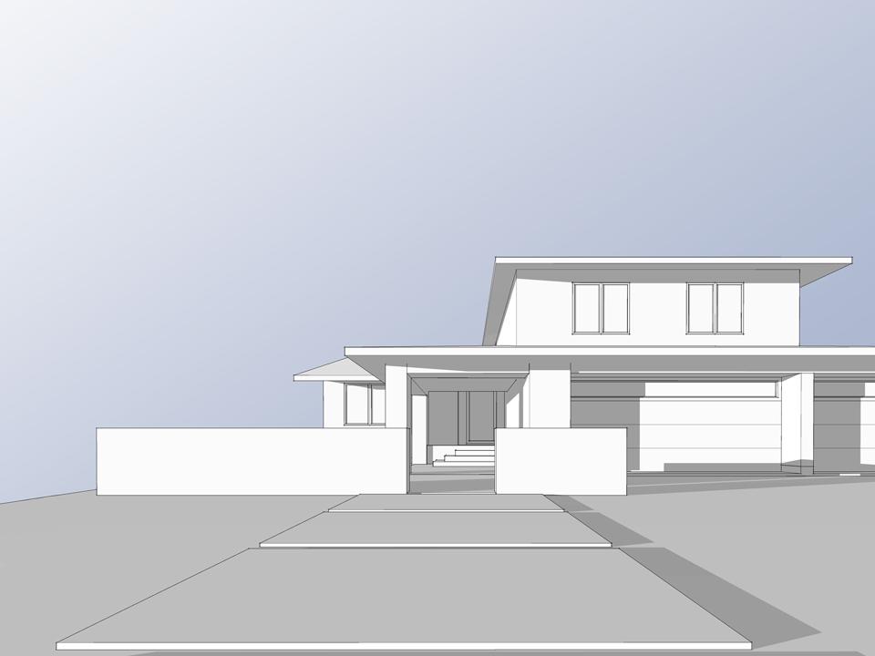 front elevation massing / kite hill addition + renovation