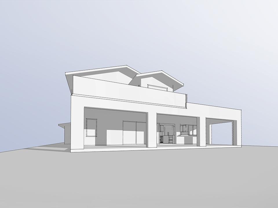 california room at rear elevation / massing model