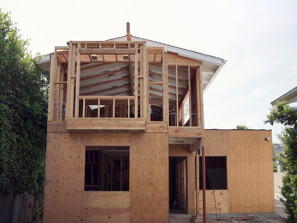 view from rear yard / new building massing
