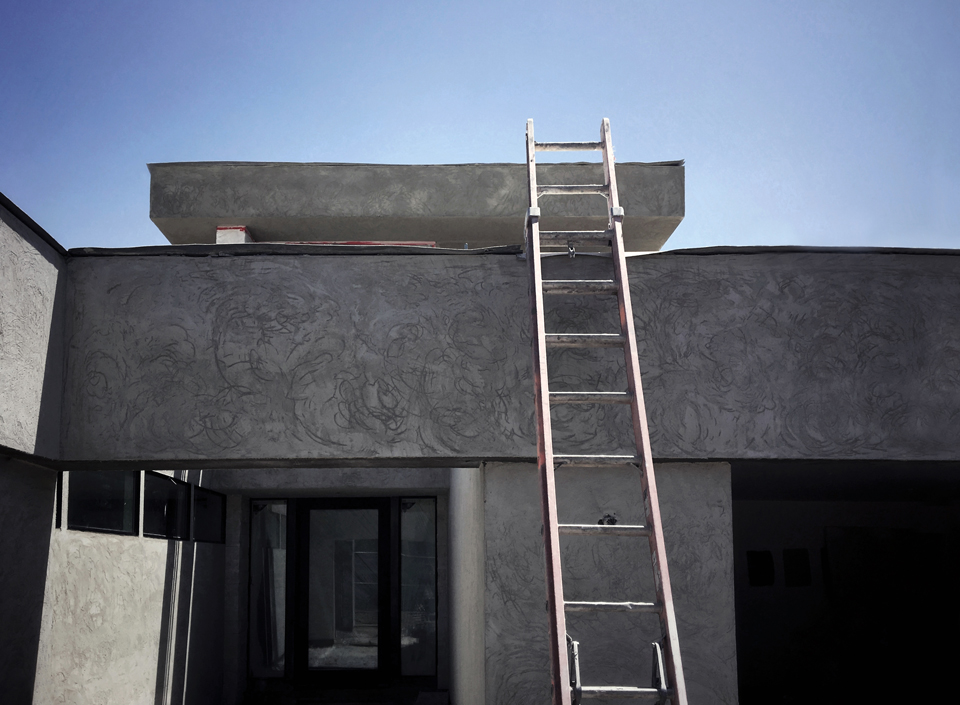 stucco brown coat at entry