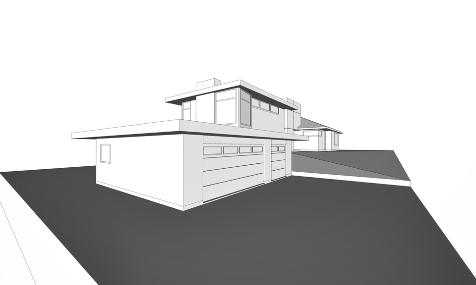split-level addition at garage