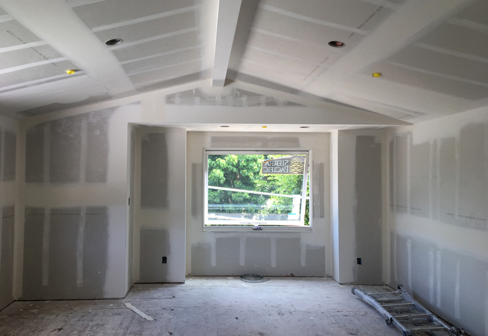 drywall at awning window projection / addition at master bedroom