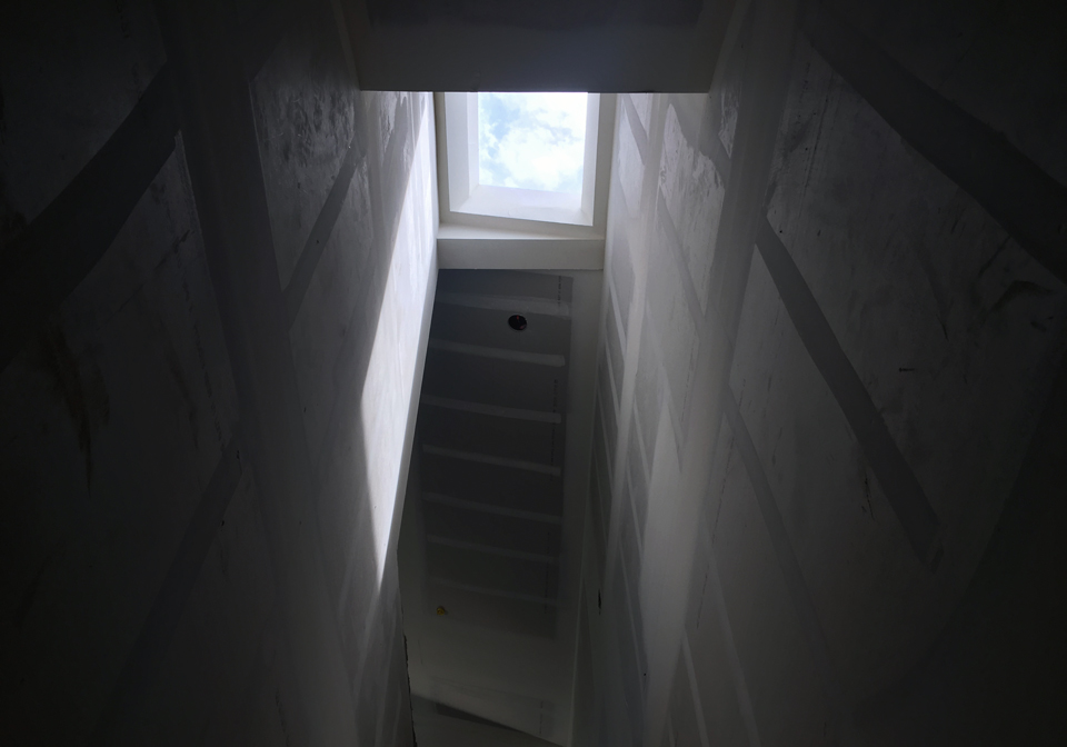 angles + natural lighting / skylight at stair