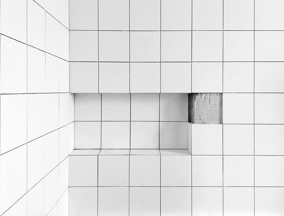 angles + alignment / shower niche ceramic tile detail