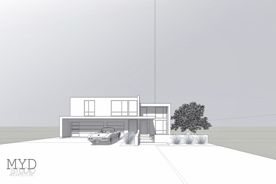 huntington beach new modern / front approach perspective renderi