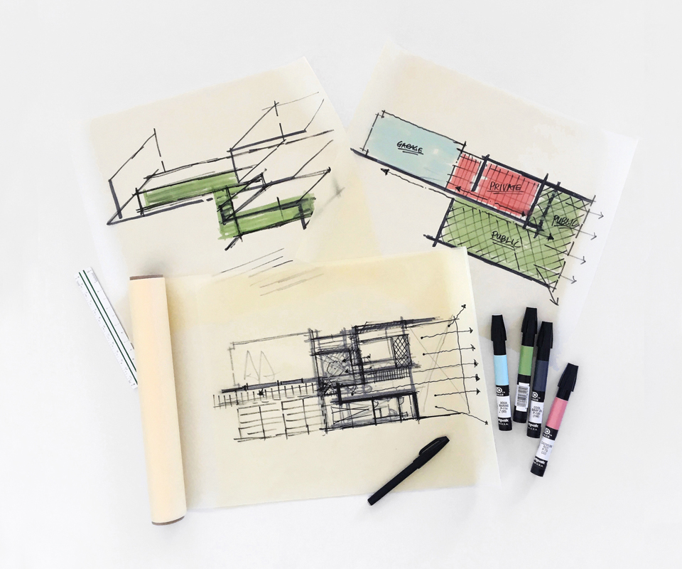 schematic design sketches / on the boards