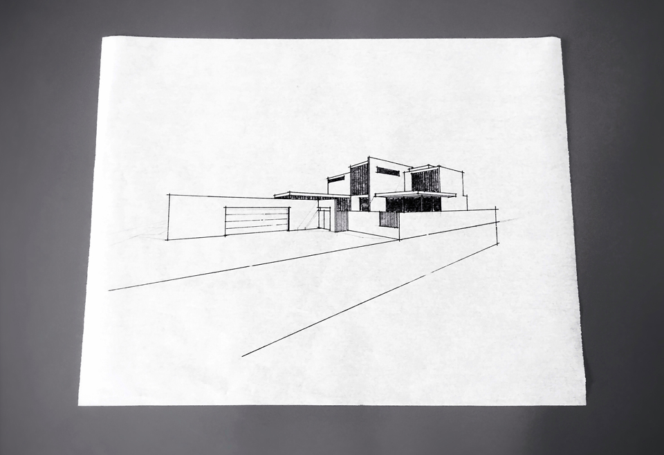 perspective sketch / exterior at entry