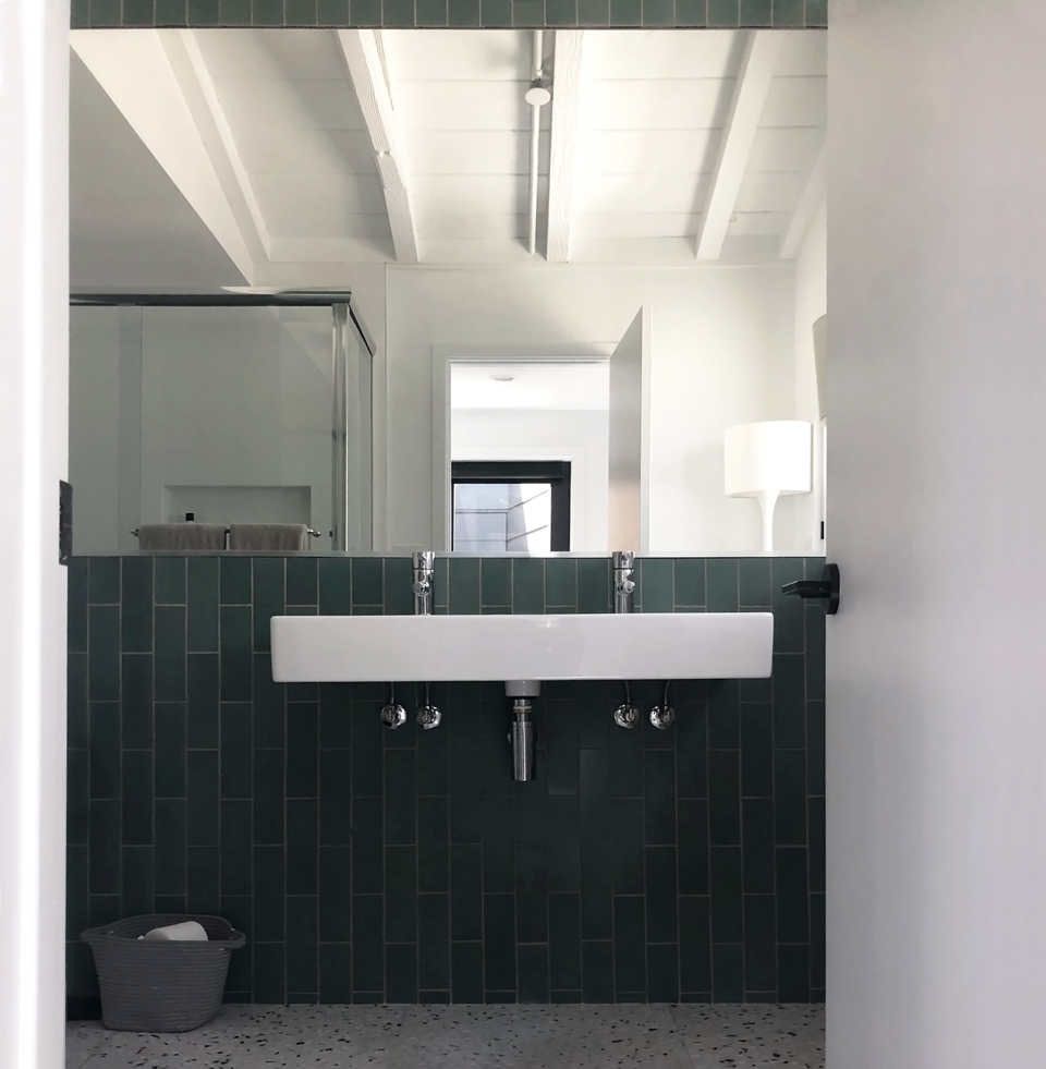 heath tile + terrazzo / modern bathroom material snapshot