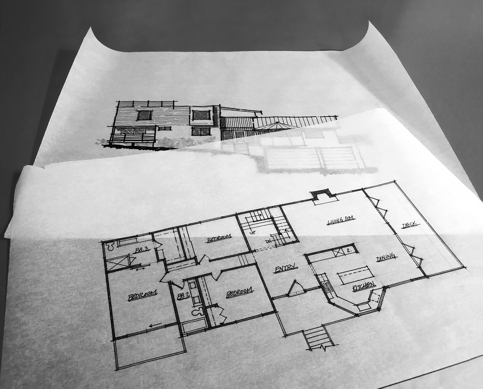 schematic design drawings / first floor plan + elevation