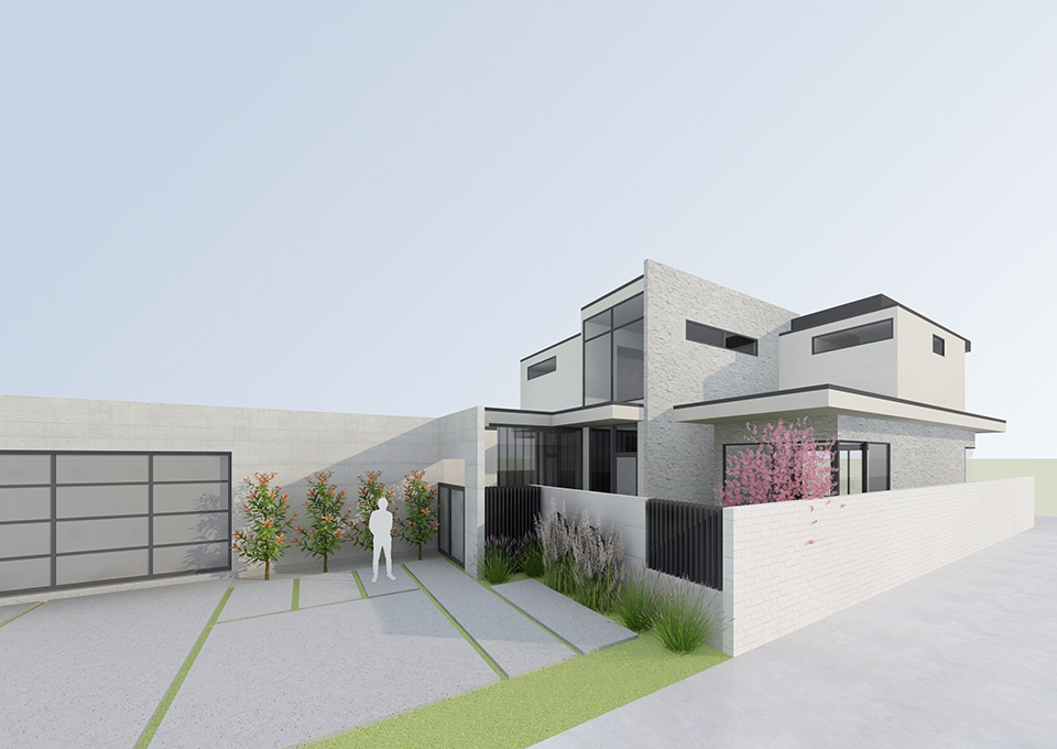 exterior approach / harbour house rendering