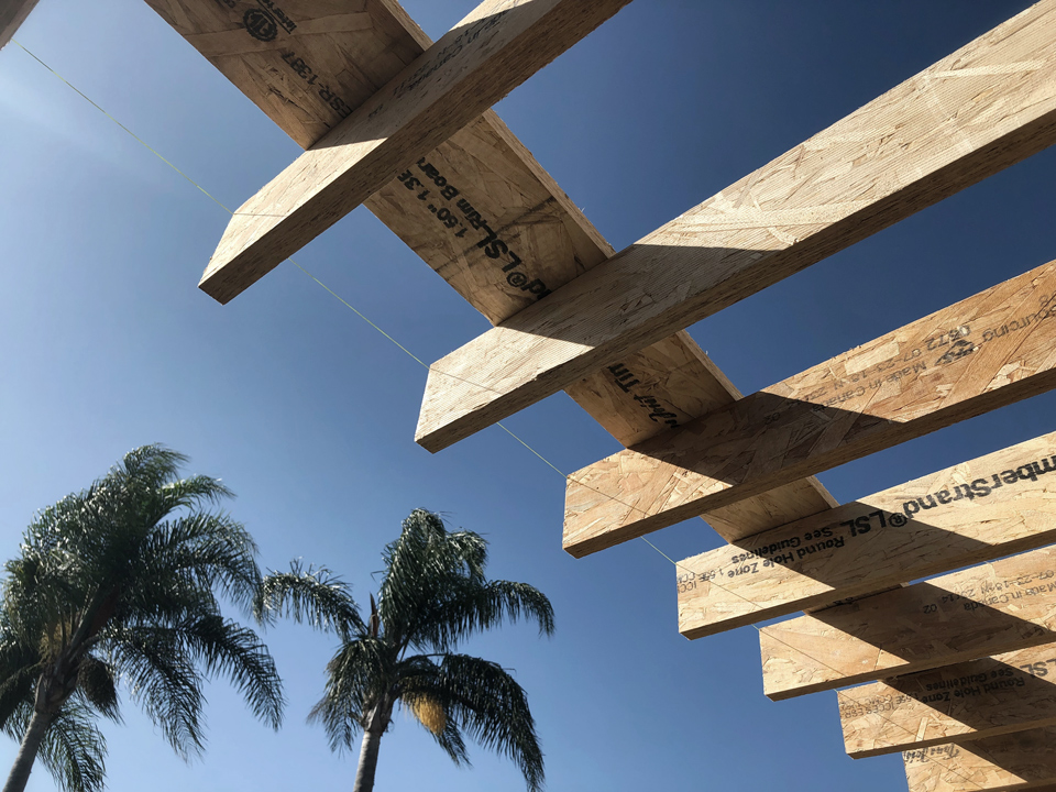 deck framing detail + palm trees