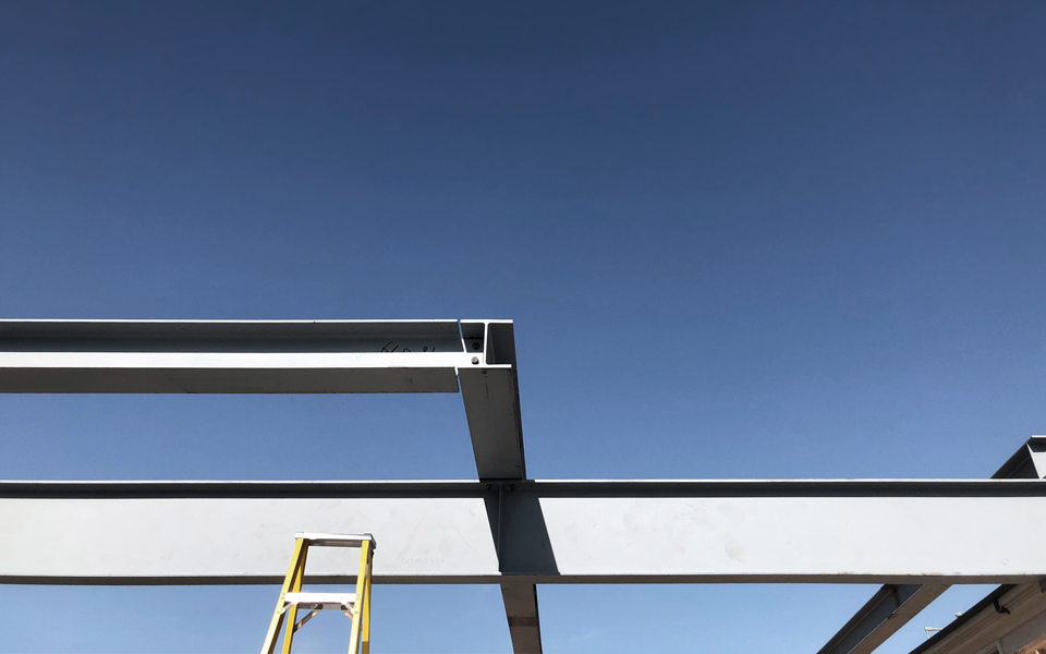 steel framing at cantilever/ great room