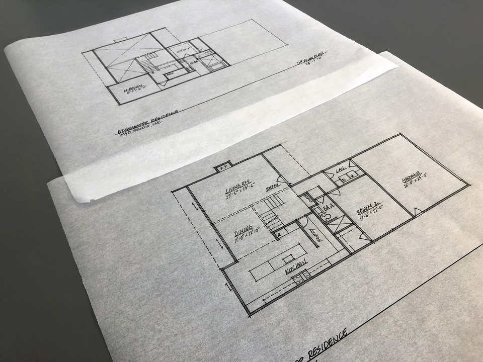 schematic floor plans / on the boards in huntington harbour