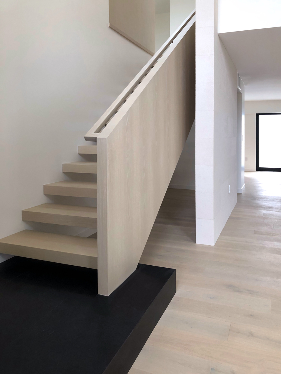 floating stair + basalt stone base / interior architecture
