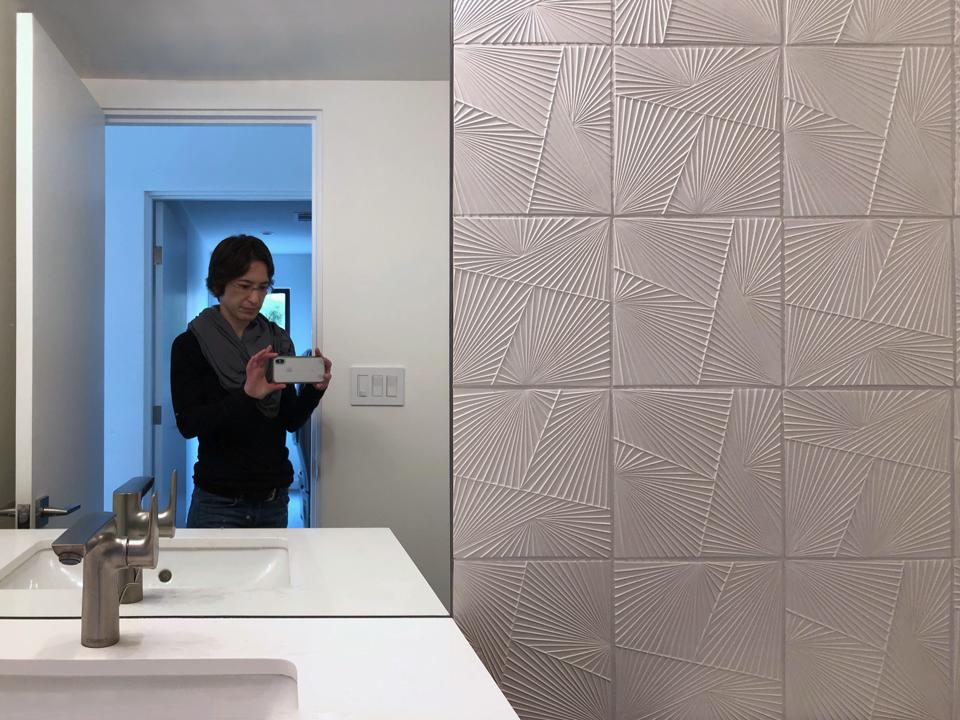 powder room selfie / ann sacks tableau tile