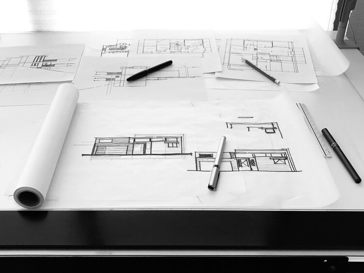 architectural design process / front elevation sketches